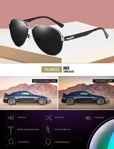 6e182dfbdf Amazon.com  DUCO Pilot Premium Military Style Sunglasses for Men 100% UV  Protection Polarized  Clothing