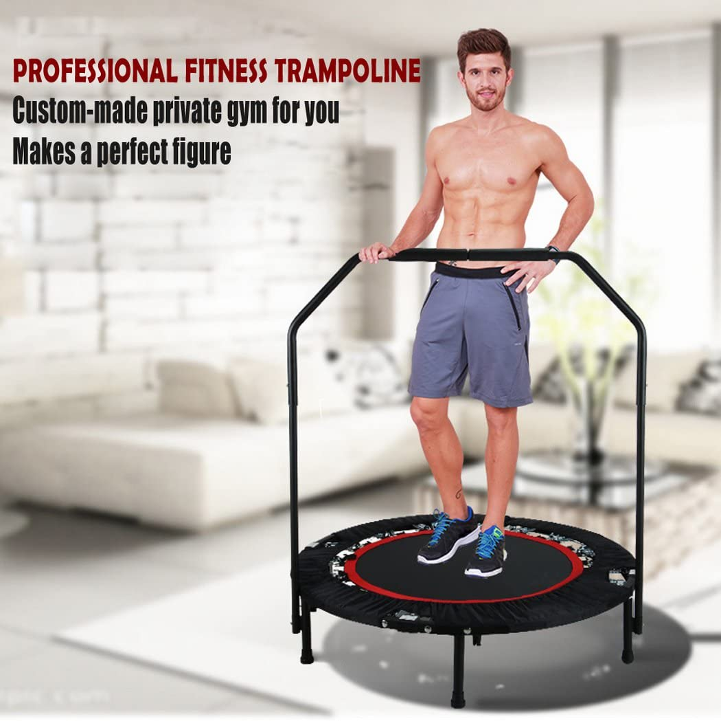 shaofu 40 Rebounder Trampolines Foldable Exercise Trampoline with Adjustable Handrail for Adults Kids, 300 lbs US Stock