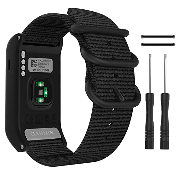 MoKo Watch Band for Garmin Vivoactive HR, Fine Woven Nylon Adjustable Replacement Strap with Metal Buckle for Garmin Vivoactive HR Sports GPS Smart ...