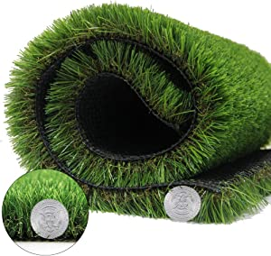 Artificial Grass Turf - 4.9FTX9.8FT(48 Sq FT) Fake Grass Lawn 1.38 inch Pile Height Synthetic Rug Fake Carpet for Garden Doormat Landscape Outdoor Indoor Rubber Backed with Drainage Holes