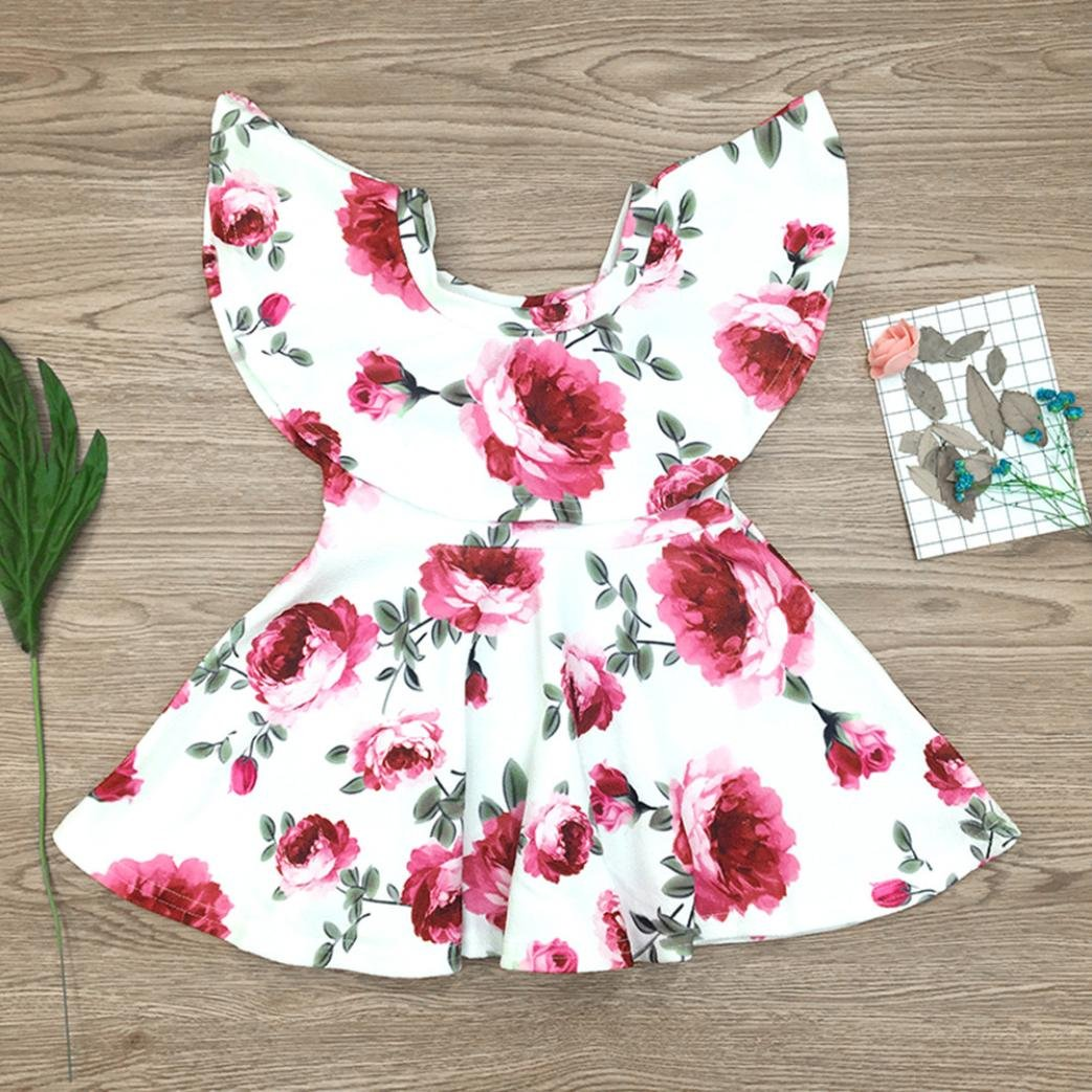 TM Elevin Toddler Kid Baby Girl Tulle Tutu Skirt Sleeveless Denim Lace Summer Dresses 1-7T