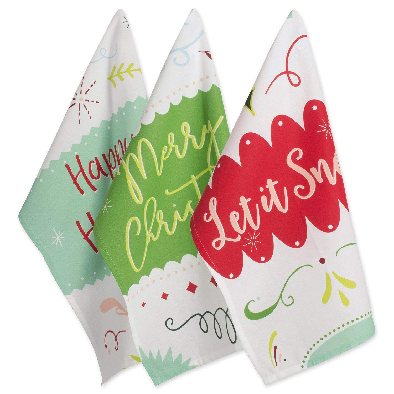 DII 100  Cotton 18x28 Christmas Holiday Dish Towels Set of 3-Winter Wishes
