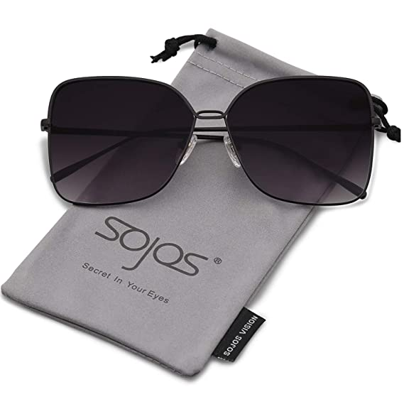 d3ec1db0f44 SojoS Fashion Square Oversized Sunglasses Metal Frame Flat Mirrored Lens  SJ1082 Black Frame Gradient Grey