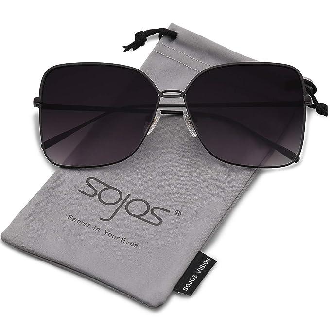 e514ffa6e SOJOS Fashion Oversized Square Sunglasses for Women Flat Mirrored Lens  SJ1082 with Black Frame/Gradient