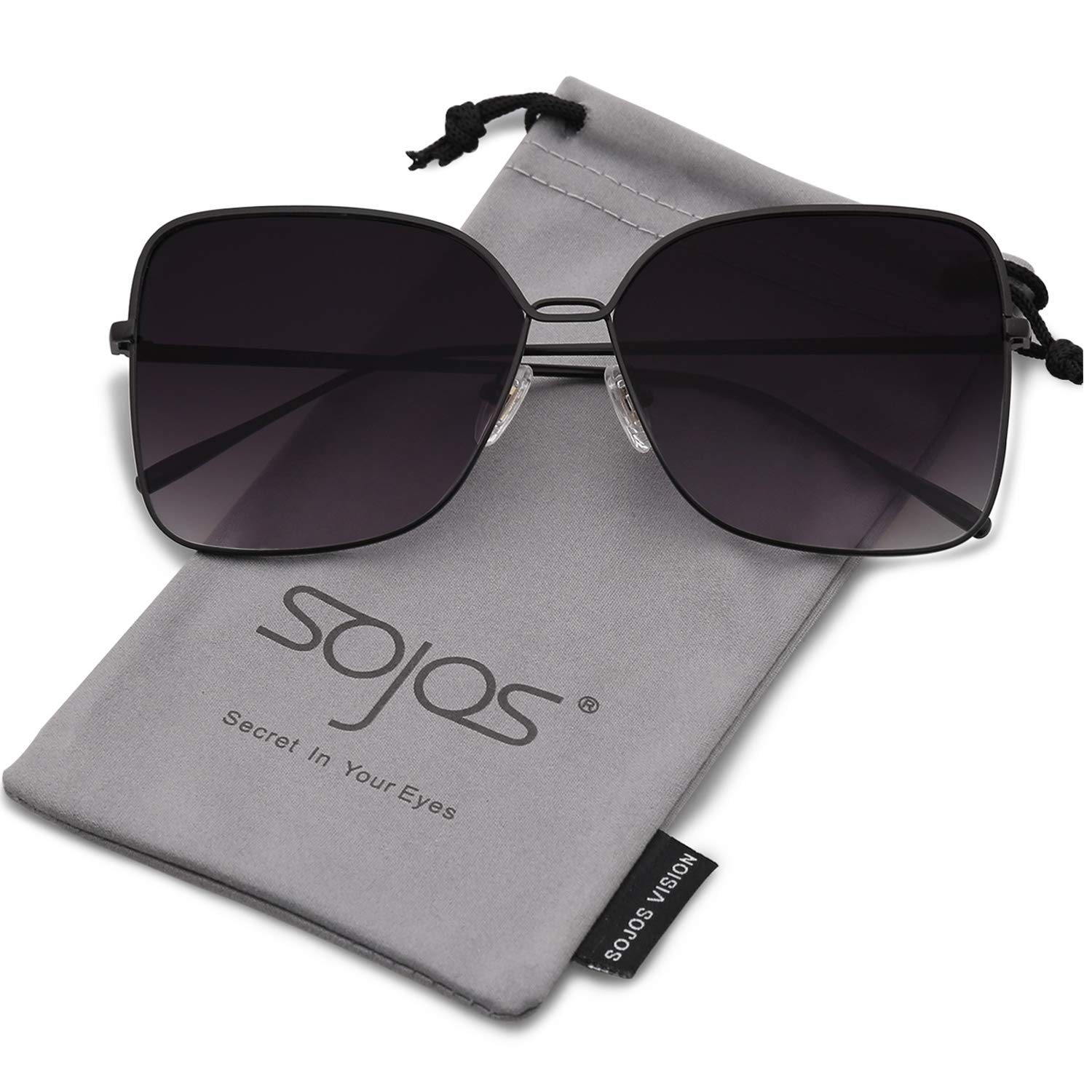 SOJOS Fashion Oversized Square Sunglasses for Women Flat Mirrored Lens SJ1082 with Black Frame/Gradient Grey Lens