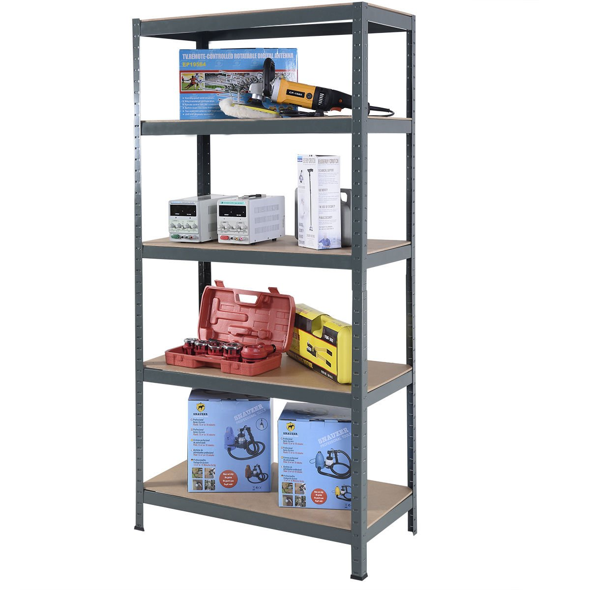 Moon Daughter 72'' Heavy Duty Steel 5 Level Garage Shelf Metal Storage Adjustable Shelves Unit Free Standing Organization