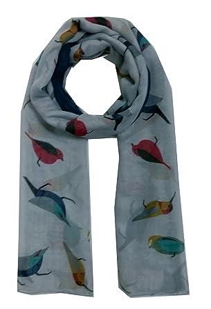 c6da0bf77915 Superbe motif imprimé oiseau en argent Maxi Big Large grande écharpe de  portage-Sarong