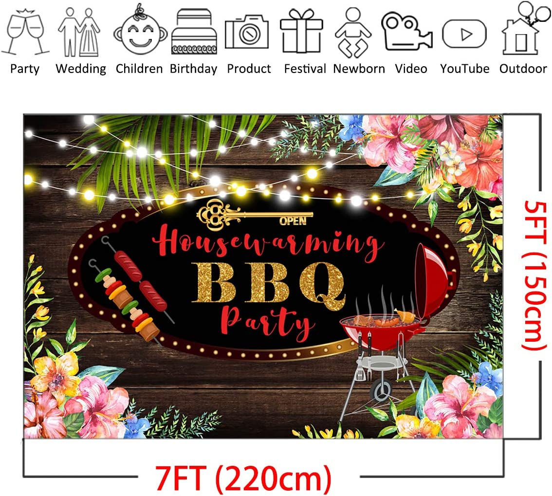 Mocsicka Housewarming Party Backdrop 7x5ft Vinyl Rustic Wood New House Party Barbeque Background Summer Backyard Cookout Barbecue Shower Photography Backdrops