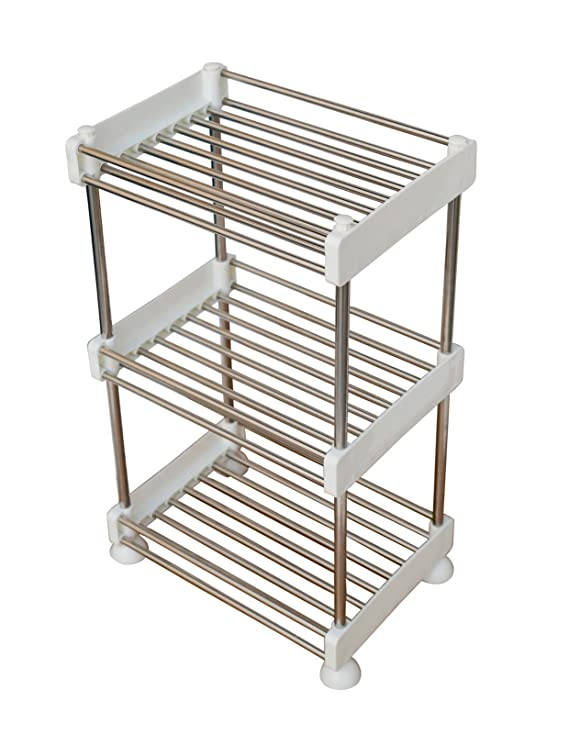 Pindia Stainless Steel and Plastic Storage Rack, Silver Racks & Holders at amazon