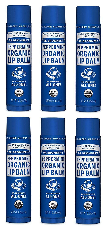 Dr. Bronner's & Sun Dog's Magic Organic Lip Balm, Peppermint, 0.15-Ounce Sticks (Pack of 6) Dr. Bronner's 171512