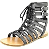 G By Guess Holmes Women Open Toe Synthetic Black Gladiator Sandal