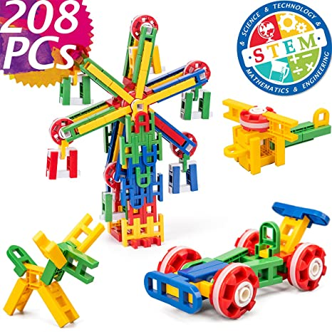425a51b1e01d cossy STEM Learning Toy Engineering Construction Building Blocks 208 Pieces  Kids Educational Toy for Boys and