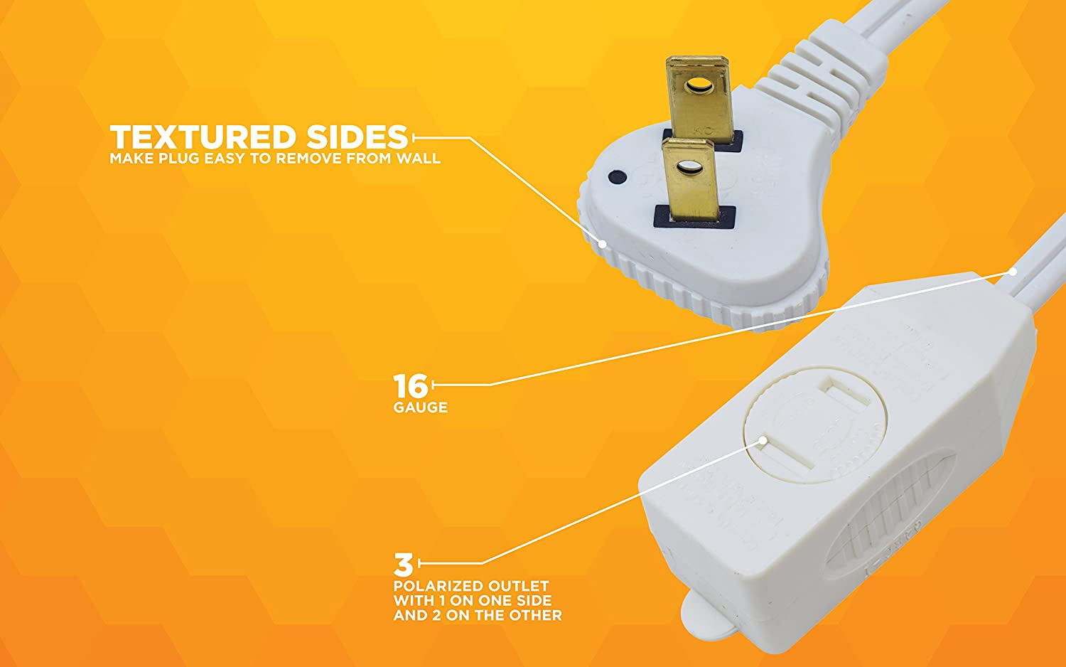 2-Wire 7-Foot White Coleman Cable SlimLine 2236 Flat Plug Extension Cord