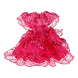 Magideal Fuchsia Dot Printed Party Gown Dress for Barbie Dolls