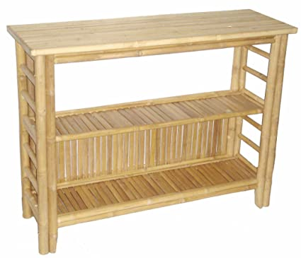 amazon com bamboo 54 fancy console table with shelf brown kitchen
