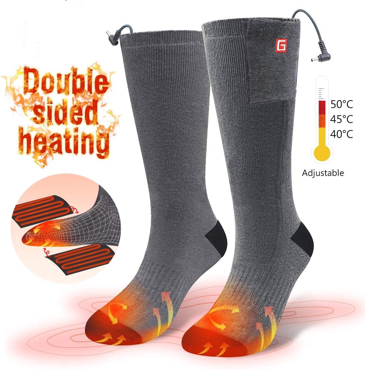CAVEEN Calcetines Térmicos Eléctricos - Tres Clase del Temperatura Calcetines Calentadores para Esquiar, Aire Libre Deporte de Hombre, Mujer