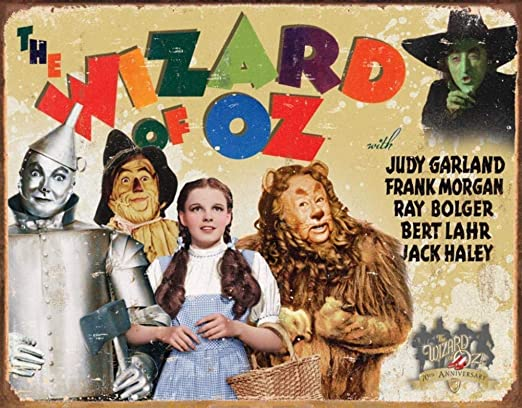 Metal Tin Sign 8x12 inches Wizard of Oz 70th Anniversary Retro Distressed Tin Sign
