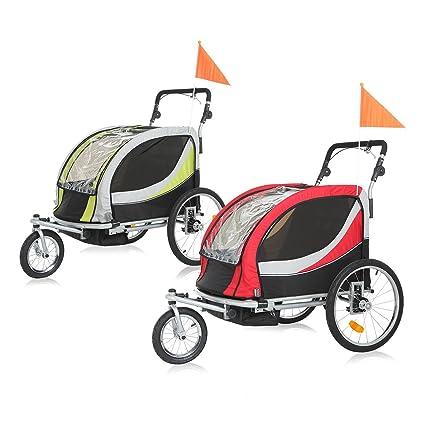 SAMAX PREMIUM Remolque de Bicicleta para Niños 360° girable Kit de Footing Transportín Silla Cochecito Carro Suspensíon Infantil Carro in Rojo/Gris - ...