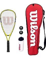 Wilson Kinder Squash-Set, Schläger mit Tasche, Wasserflasche und Bälle (Verschiedene Optionen)