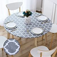 smiry Round Table Cloth Cover - Elastic Edged Flannel Backed Vinyl Tablecloth, Waterproof Wipeable Gray Moroccan Trellis…