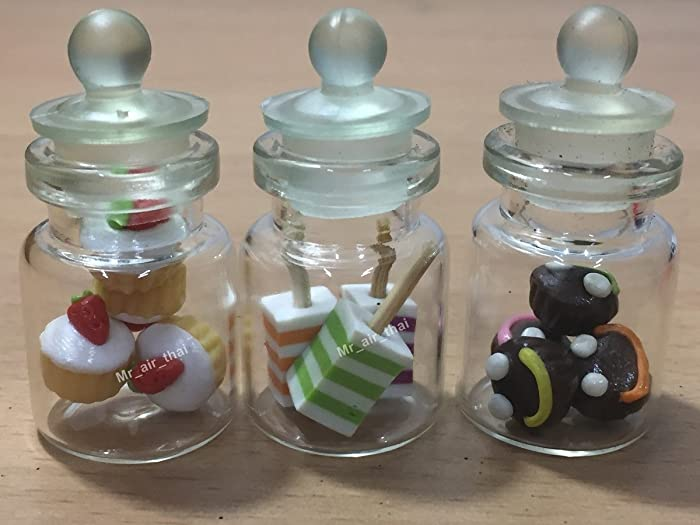 3pc Miniature Food Cookie Cake Chocolate Candy Dollhouse Donut in Clear Glass Mini Bottle fruit Food #MF043