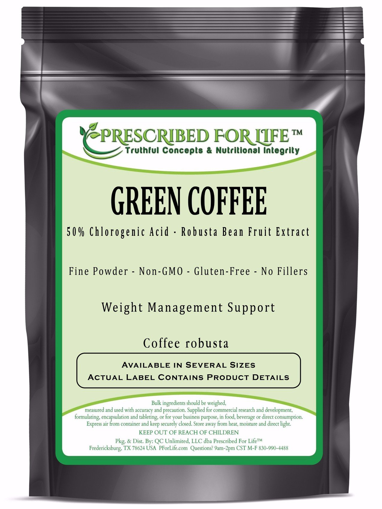 Green Coffee - 50% Chlorogenic Acid - Natural Robusta Bean Fruit Extract Powder (Coffea robusta), 12 oz