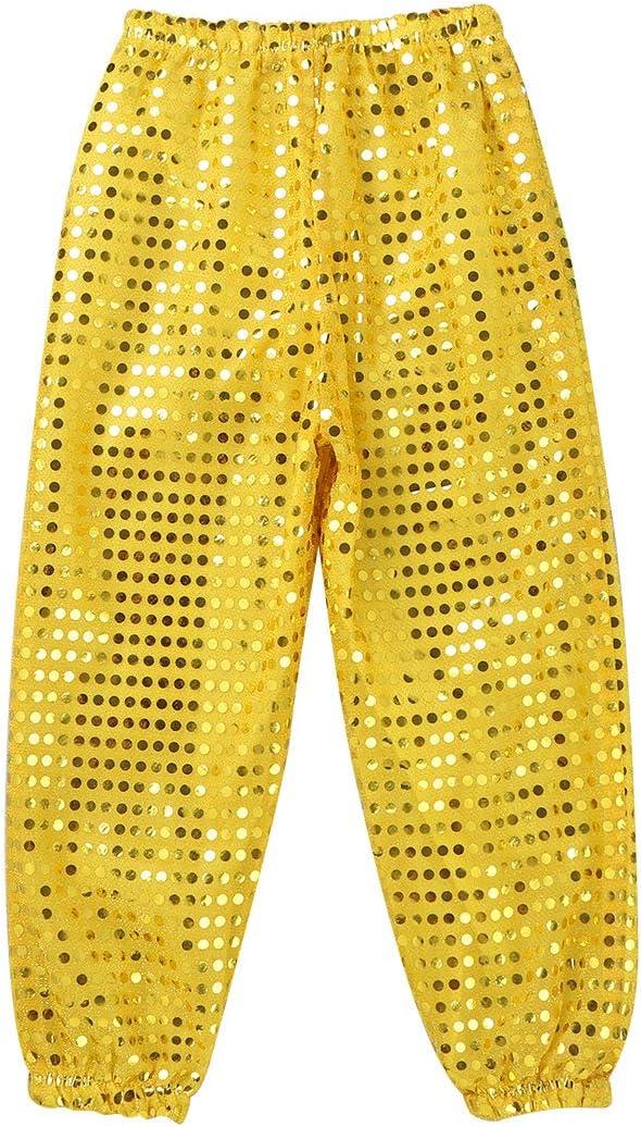 iixpin Unisex Kids Boys Girls Hip Hop Jazz Street Dancing Sequins Pants Stage Performance Shiny Costumes