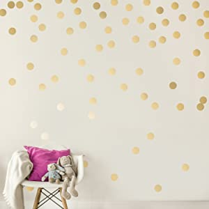 Easy Peel + Stick Gold Wall Decal Dots - 3cm/1.2inch (216 Decals) - Safe on Walls & Paint Metallic Vinyl Polka Dot Decor - Round Circle Art Stickers Murals - Paper Sheet Baby Kids Nursery Room Set