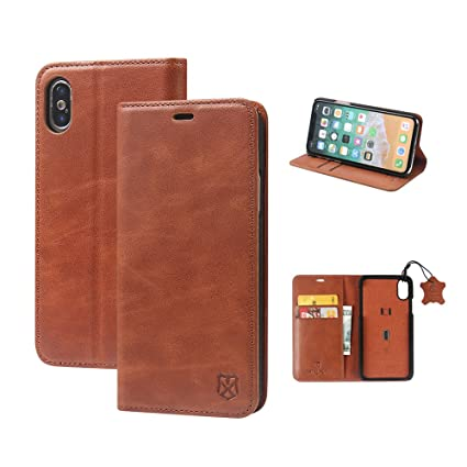 the latest 76d35 83e39 iPhone X Case, iPhone 10 Case, MTRONX Genuine Leather Wallet Case Magnetic  Closure Auto Sleep/Wake Function Slim Flip Cover with Kickstand and Card ...