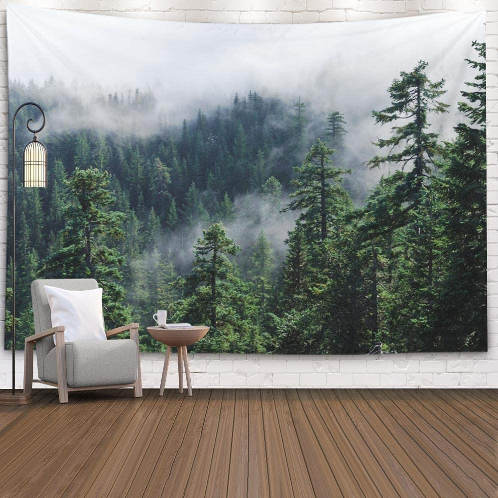 Fullentiart Dorm Tapestry, Wall Hanging Tapestry 80X60Inch Fog the Mountain Misty View from Mount Usa Pacific Northwest Larch Oregon Decoration Room Birthday Gift Holiday Décor Tapestries,Multi Black