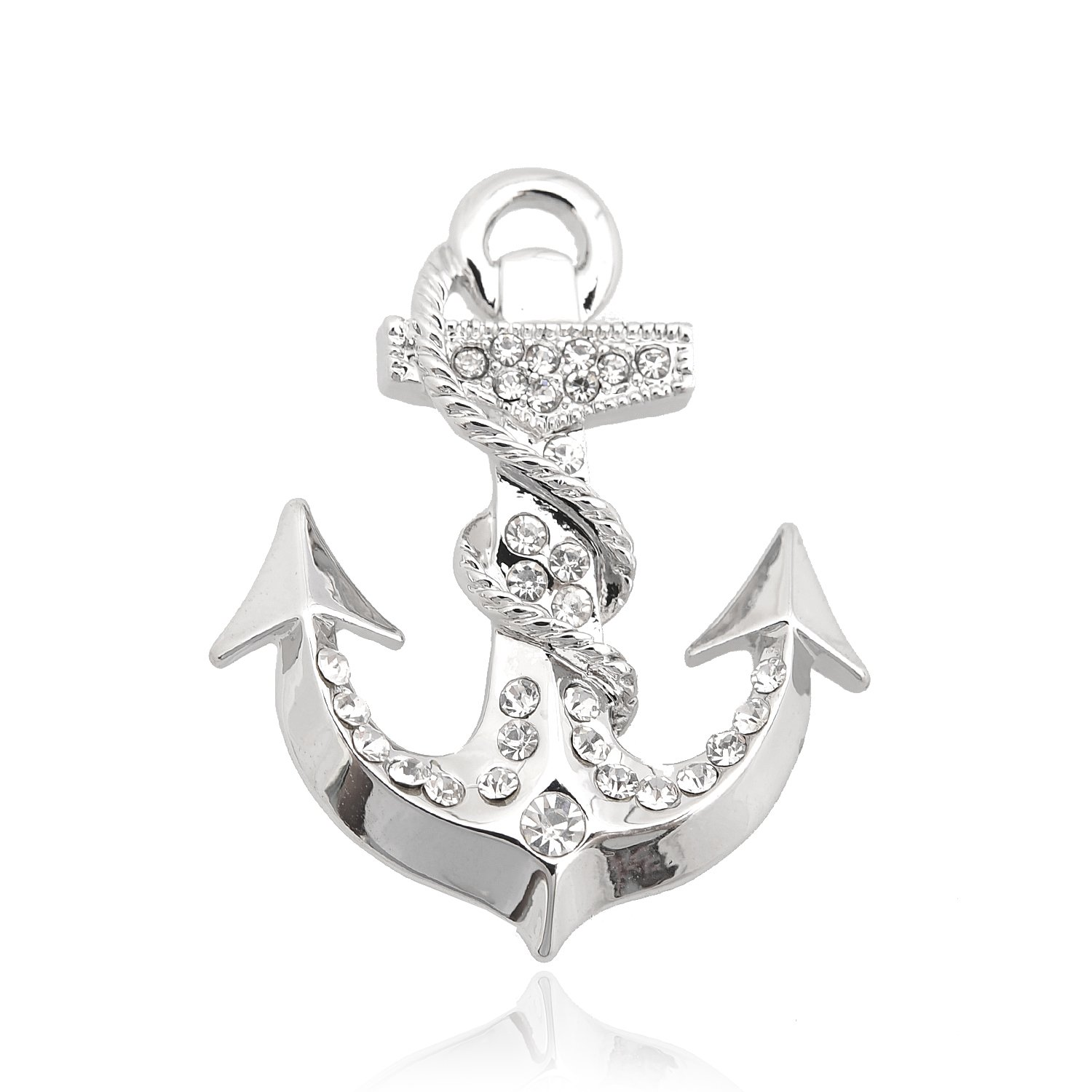 chelseachicNYC Silver Plated Spiritual Sea Anchor with Rope Brooch