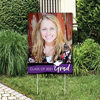product image for Big Dot of Happiness Custom Purple Grad - Best is Yet to Come - Photo Yard Sign - Purple 2021 Graduation Party Decorations