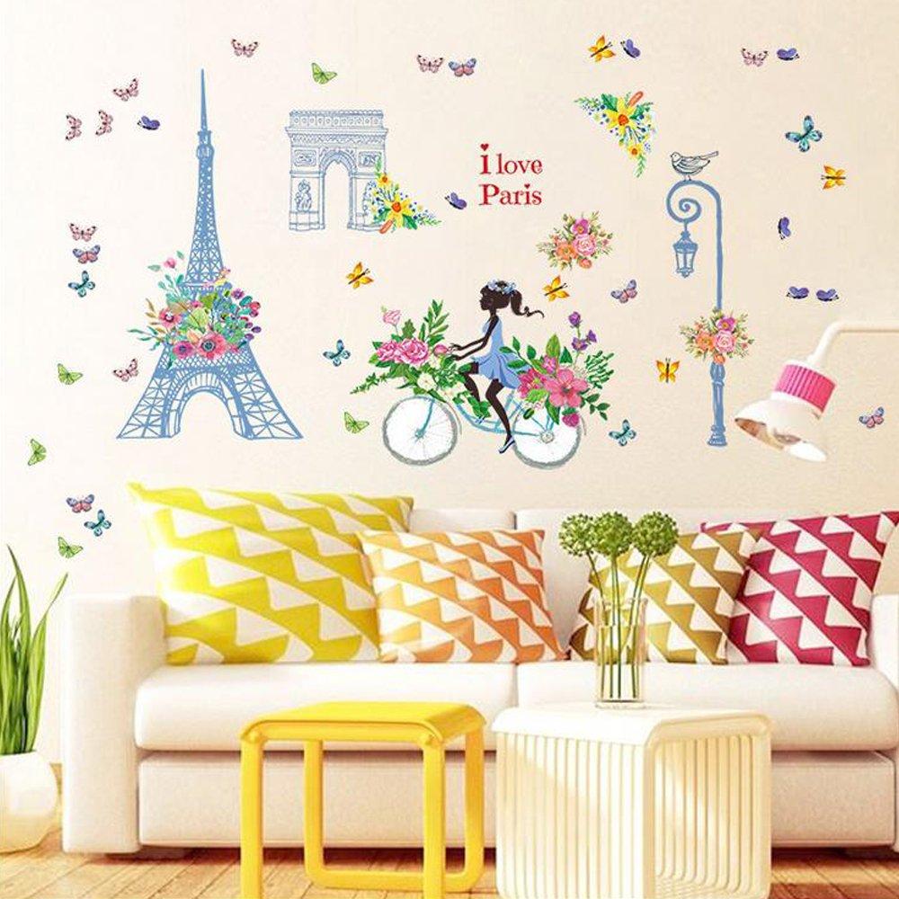 Amazon.com: Eiffel Tower Flowers Girl Bike Wall Sticker Decal Home ...