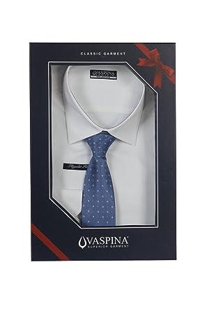 Camisa lisa blanca con corbata Fantasia rigata: Amazon.es: Ropa y ...