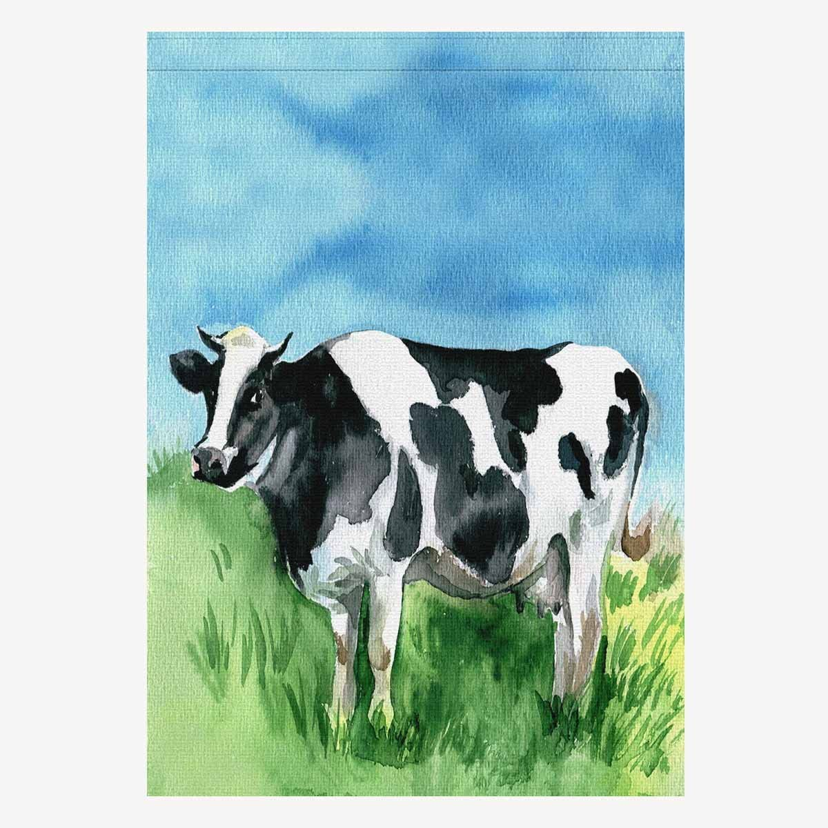 Amazon Com Interestprint House Flag House Banner Watercolor Dairy Cow Cattle Funny Animal Decorative Yard Flag For Wishing Party Home Outdoor Decor Oxford Cloth 28 X 40 Without Flagpole Garden