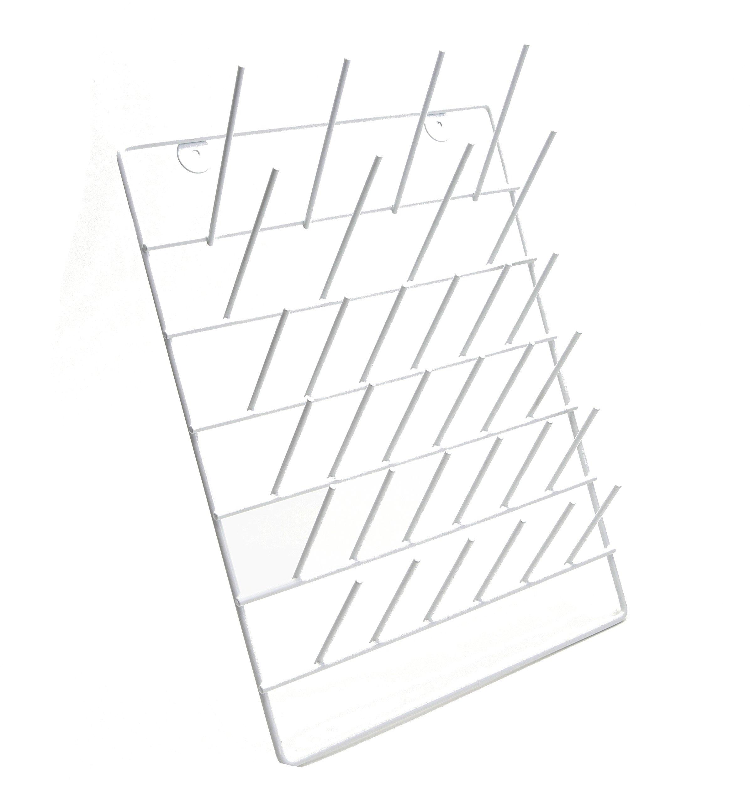 Dynalon 559165-0000 Epoxy-Coated Drying Rack, 12.25 x 4.187 x 15.75 in, Milliliters, Degree C, Epoxy-Coated Steel, White (