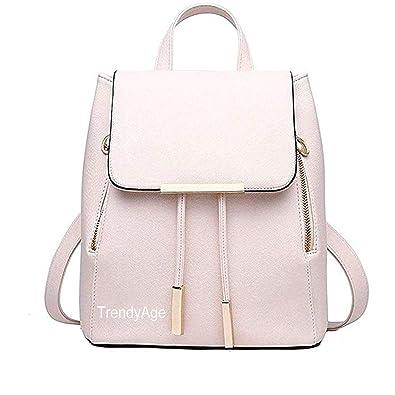 61ba0fe0dce1 TrendyAge Girl s Leather School Backpacks (Cream)  Amazon.in  Shoes    Handbags