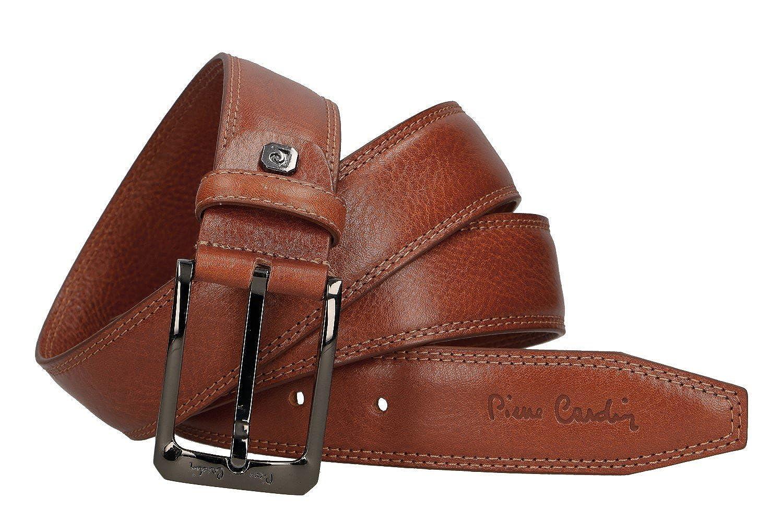 88c78fd27c4c Cinturón hombre PIERRE CARDIN en cuero marrón con pespuntes MADE IN ...