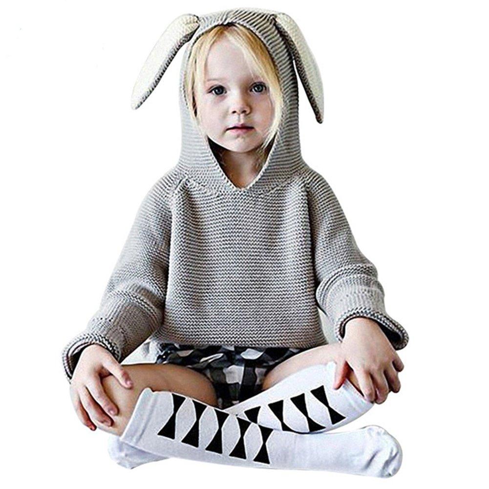 Belababy Grazioso pullover da bambino/bambina, con orecchie di coniglio, lavorato a maglia