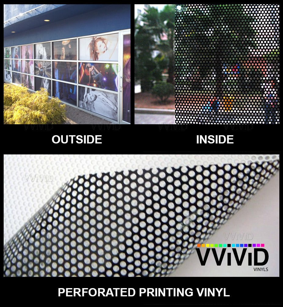 VViViD One-Way Perforated Vinyl Privacy Window Film Adhesive Glass Wrap Roll (15ft x 54 inches) by VViViD