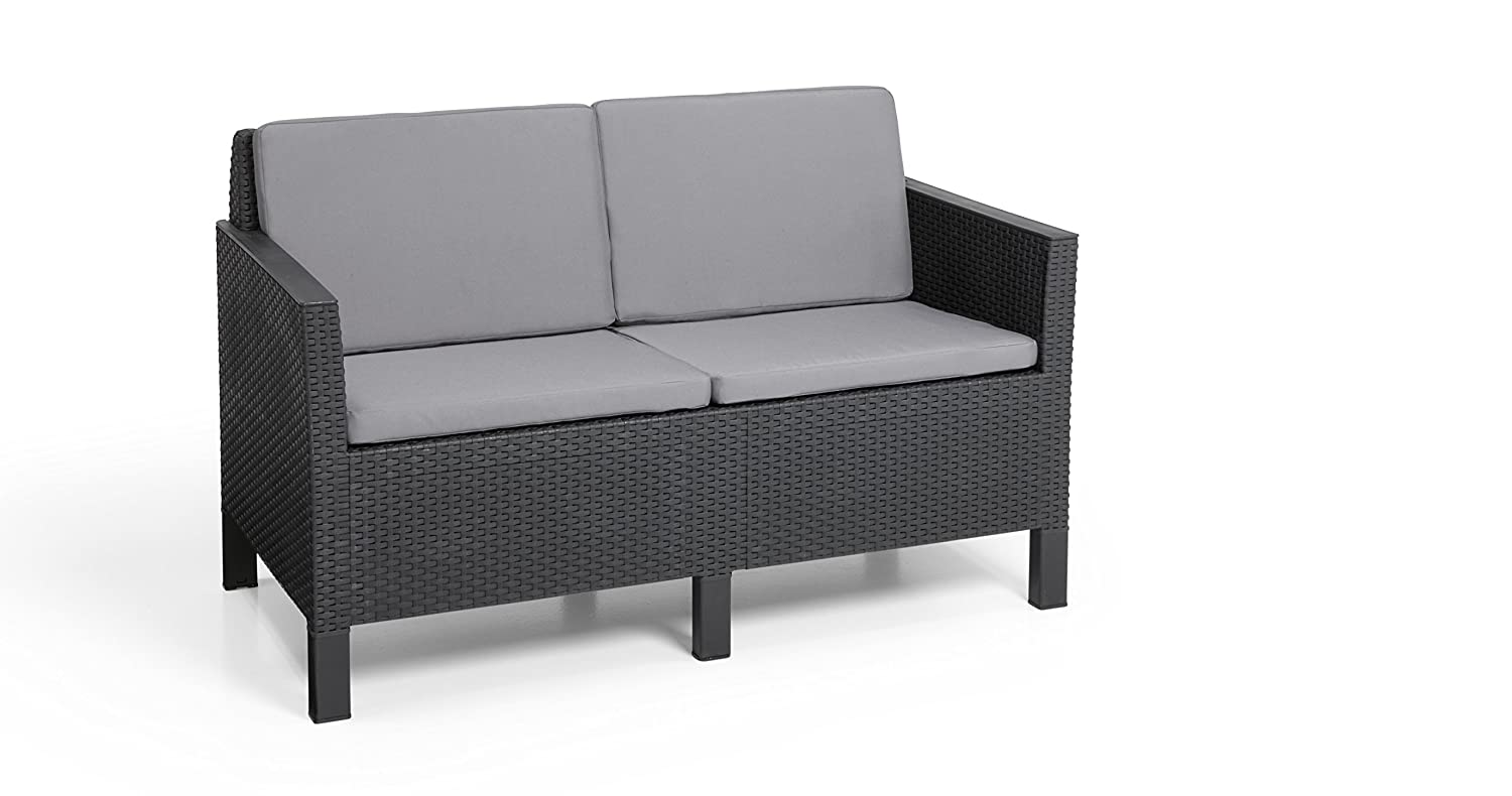 allibert by keter chicago 4 seater rattan lounge outdoor garden furniture set graphite with grey cushions amazoncouk garden u0026 outdoors
