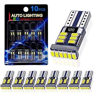 10PCS AutoLite Super Bright 194 T10 2825 Led Bulb, Interior Car Light Bulbs 168 W5W, Xenon White 6000K with CANBUS Error Free, Best for License Plate Light Led Dome Light Map Truck Door Courtesy Light: Automotive