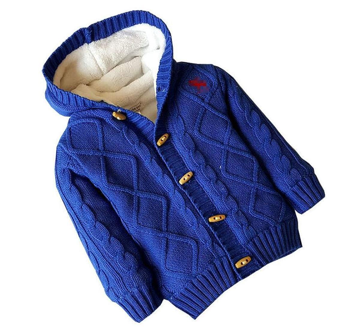 Sweatwater Girls Fleece Boys Hooded Jumper Cotton Coat Cardigans