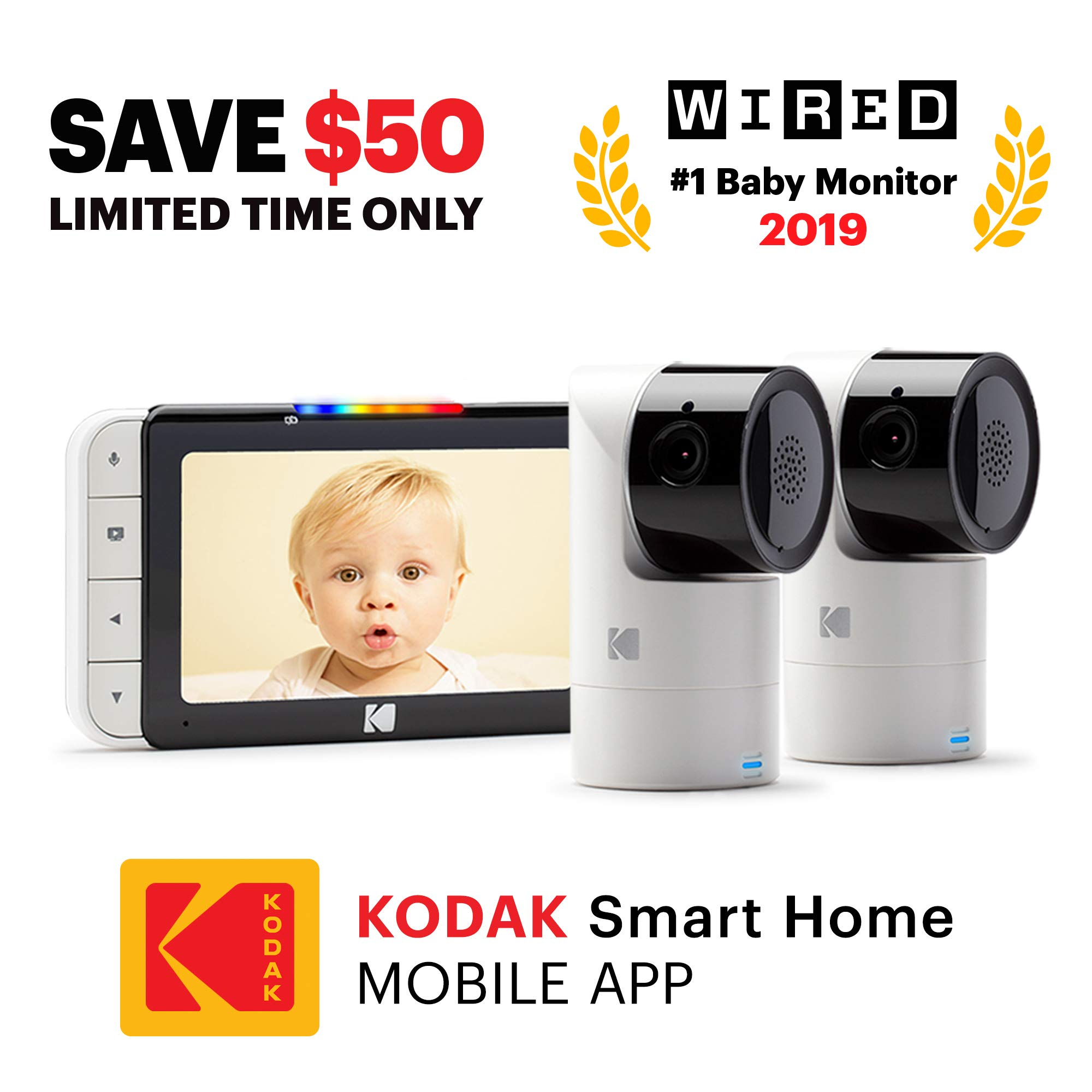 KODAK Cherish C525 Video Baby Monitor + C125 Additional Camera - with Mobile App - 5'' HD Screen - Hi-res Baby Camera with Remote Tilt, Pan and Zoom Two-Way Audio, Night-Vision, Long Range by Kodak (Image #1)