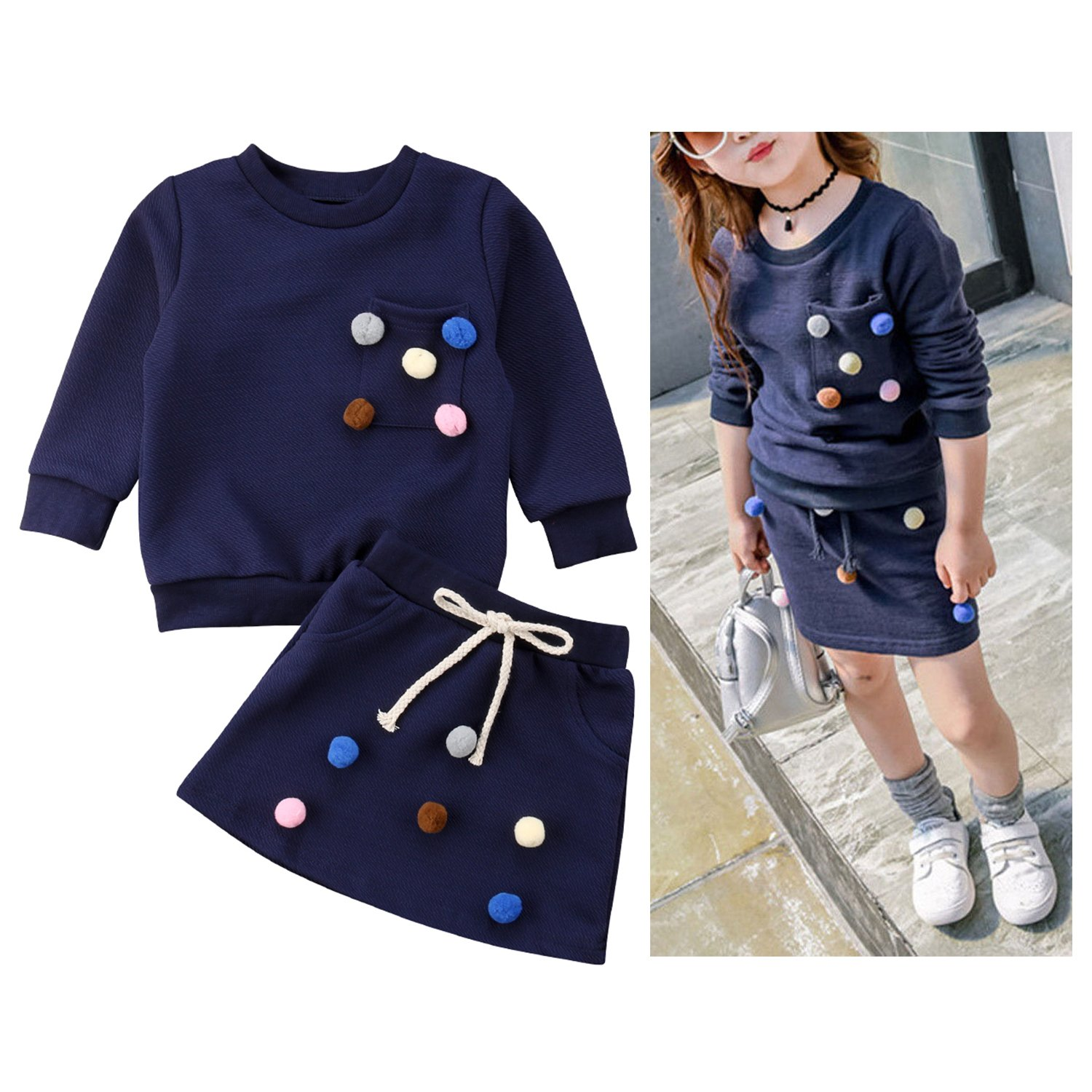 WIFORNT Toddler Baby Girl Long Sleeve Pom Pom Pullover Sweatshirt Top Skirt Outfits