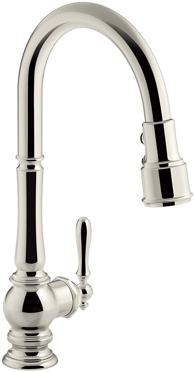 KOHLER K-99259-SN Artifacts Single-Hole Kitchen Sink Faucet with 17-5/8-Inch Pull-Down Spout, 3-Function Sprayhead, and Turned Lever Handle, Polished Nickel