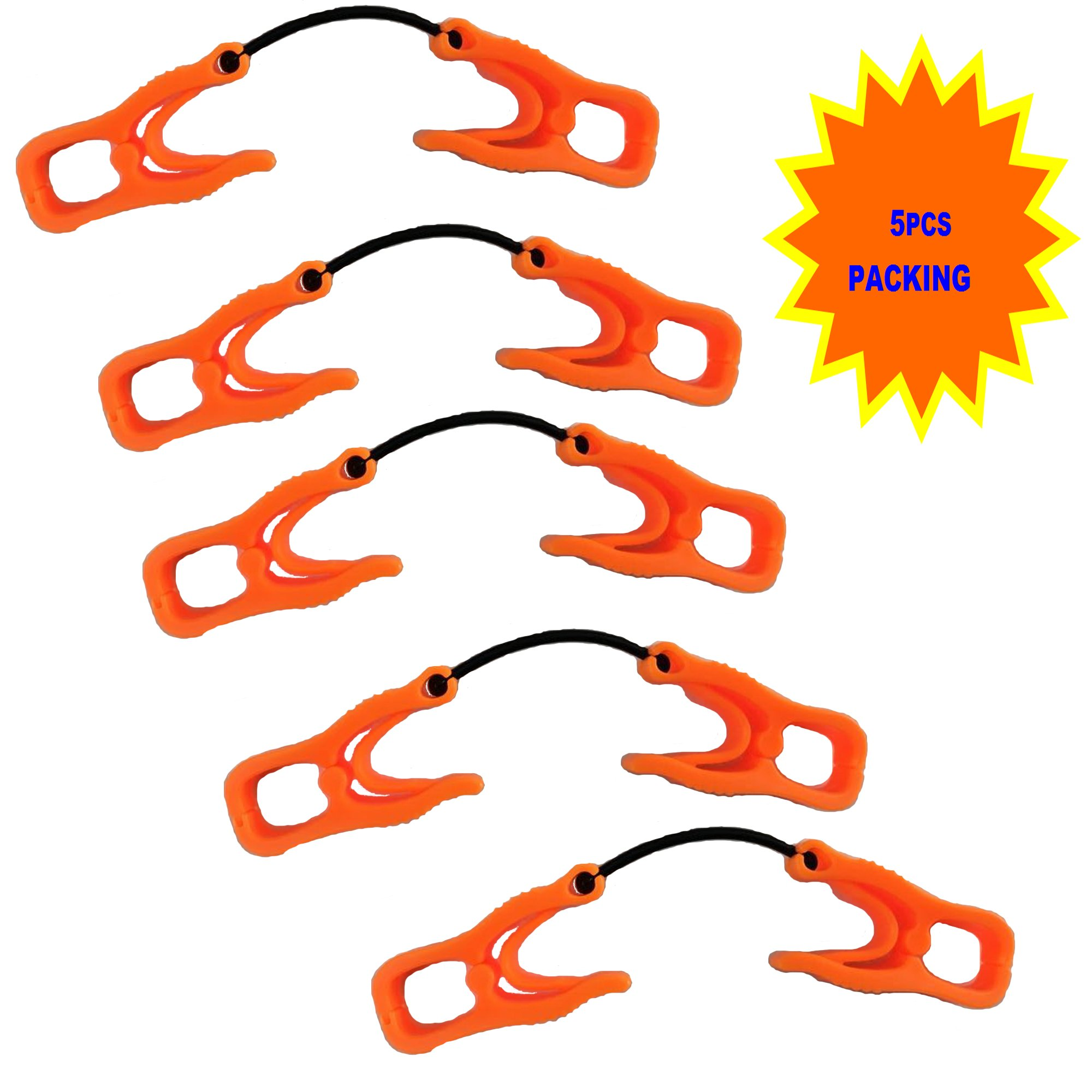 5Pc AT06-5O Orange Sino-Max Glove Grabber Clip Holder Guard Work Safety Clip Glove Keeper, Neon POM,Reduce Hand Injury and Clip, Grab, Attach Gloves, Towels, Glass, Helmet