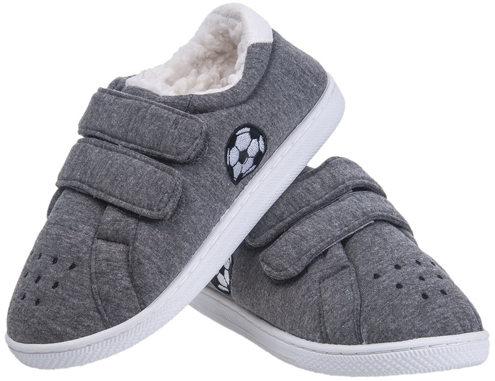 Festooning Boy Little Kid's Winter Warm Plush Lined Comfy Slip-on Slippers Hard Sole Indoor Outdoor Shoes Grey31