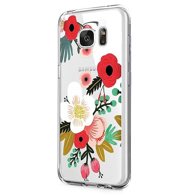 Teryei kompatibel mit Hülle Galaxy S7 Edge, Galaxy S7 HandyHülle TPU Silikon Backcover Case Blossom Blühen Blumen Flower Must