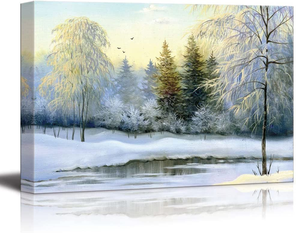 "Canvas Prints Wall Art - Beautiful Winter Landscape, Canvas, Oil - 16"" x 24"""